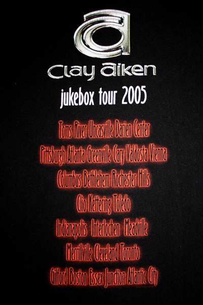 Clay Aiken Jukebox 2005 Pop American Idol Concert Tour Black T Shirt x
